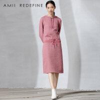 [AMII东方极简] JII[东方极简]2016秋冬季女装直筒中长款套头大码连帽连衣裙女