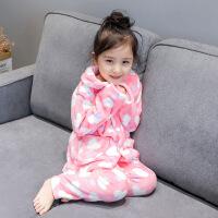 中小女童套装 家居服17冬装新款韩版儿童珊瑚绒保暖长袖睡衣A5-B6