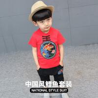 中国风1儿童唐装2男童女童夏季棉麻短袖套装复古-4岁宝宝汉服童装 说明(到码)的可以开档