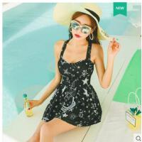 分体泳衣女两件套泉游泳衣小香风比基尼裙式遮肚小胸聚拢泡温