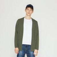 【2件2.5折叠券约:120,12日0点】MECITY男装纯色v领侧边口袋韩版修身羊毛开衫