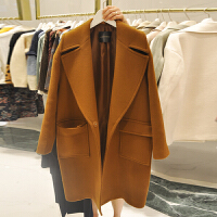 200斤胖mm妹毛呢外套中长款加肥加大码女装呢子纯色大衣宽松外套