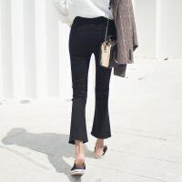 №【2019新款】冬天小姐姐穿的加绒牛仔裤女显瘦韩版高腰风九分黑色微喇叭裤子