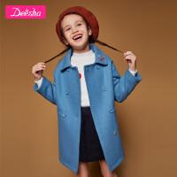 【2折价:131】笛莎童装女童呢大衣冬装新款单排扣绣花小翻领呢大衣女童外套