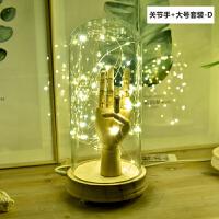 北欧简约风玻璃罩摆件星灯夜灯爱心玻璃罩创意生日礼物餐厅装饰品