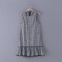 793 女装 夏季新款黑白细格子圆领无袖连衣裙女式百搭背心裙