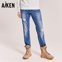 森马旗下Aiken牛仔裤ISKO男士2017秋装新款破洞弹力水洗个性街头裤子长
