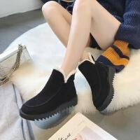 2018冬季新款韩版磨砂棉鞋女松糕底短靴加绒保暖厚底防滑雪地靴女