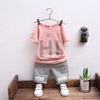男童字母T恤套装夏装儿童夏季5短袖休闲裤两件套中童潮衣