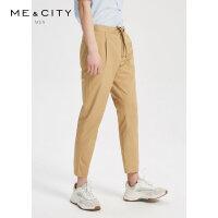 【1件2.5折到手价:96.3】MECITY男装夏季新款时尚腰间抽绳梭织长裤男士潮流休闲裤男