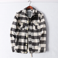 462 男装 春季新款直身排扣格子图案翻领长袖男式休闲衬衫