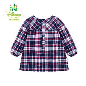 迪士尼Disney童装儿童春秋格子上衣宝宝外出服女童长袖衣服161S779