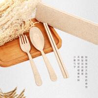 白领公社 餐具套装 家居日用小麦便携餐具三件套创意韩国旅行儿童勺子筷子叉套装学生礼盒