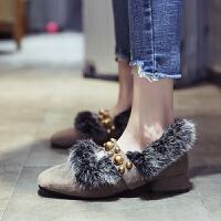 毛毛单鞋女2018新款韩版百搭加绒鞋子女冬粗跟一脚蹬方头豆豆鞋潮 卡其色 (加绒)毛毛鞋
