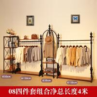 服装店展示架复古服装架侧挂架落地式衣服架女装店货架实木组合架 其他