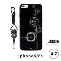 苹果iphone6手机壳带指环8全包防摔黑白花个性7plus欧美大气女款