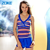 洲克分体泳装两件套系带条纹海军风泳衣时尚显瘦修身温泉游泳衣女