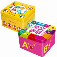 英语卡片幼儿 启蒙 英语字母卡 宝宝早教书 宝宝认知卡片儿童安全标志认知卡+儿童英文字母学习卡共2盒
