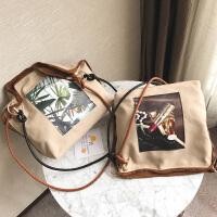帆布大包包2018夏新款韩版时尚印花女包复古单肩斜挎包大容量包包
