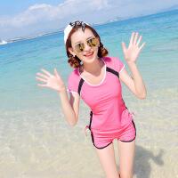 韩版保守遮背防晒短袖高中初中学生运动分体平角泳衣女泳装大码