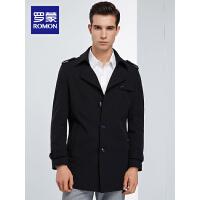 罗蒙男士中长款风衣2020春季中青年夹克商务休闲帅气修身翻领外套