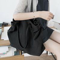 2018夏季新款休闲购物袋 帆布包单肩女大包简约文艺粗布包大容量