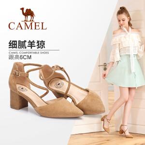 骆驼女鞋 2018新款夏季尖头女高跟鞋 简约舒适通勤性感粗跟单鞋女