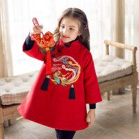拜年服女童旗袍裙童装男童唐装冬装中国风汉服龙凤刺绣新年装礼服