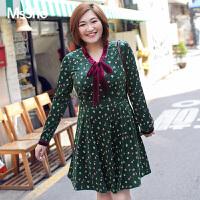 MsShe加大码女装2017新款秋装光泽弹力针织丝绒连衣裙M1740126