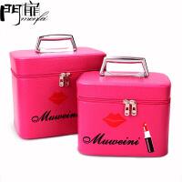 门扉 化妆箱 新款手提女士化妆箱可爱大容量化妆包旅行化妆品收纳箱便携化妆包化妆工具箱