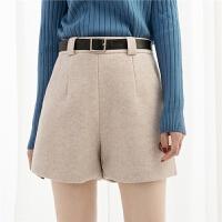 高腰毛呢短裤女裤子显瘦阔腿靴裤秋冬宽松短裤
