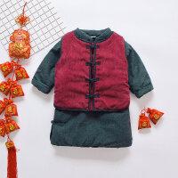 女宝宝唐装冬装拜年服洋气中国风新年装儿童冬季加厚女童汉服套装 红马甲 + 绿长袍