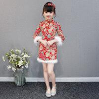 女童中国风长袖旗袍裙拜年服儿童加厚加绒旗袍连衣裙宝宝唐装冬季