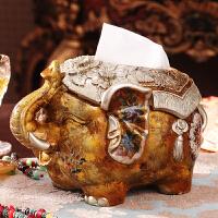 欧式高档奢华小象创意纸巾盒 复古动物桌面纸巾收纳盒摆件装饰品 小象纸巾盒