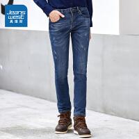 真维斯牛仔裤男 冬装男装弹力中低腰长裤青年潮流裤子