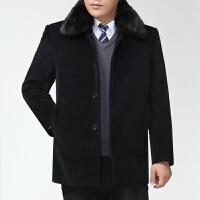 中老年男士羊毛呢大衣爸爸装男秋冬款加绒外套风衣加厚中长款上衣 08 藏青 192 5 L 建议体重130-145斤穿