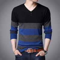 男士秋季V领长袖T恤打底衫青年韩版修身毛衣男装潮流大码针织线衣 黑色 8369