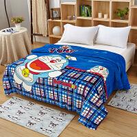 哆啦A梦法兰绒毛毯夏季空调毯儿童卡通珊瑚绒kt猫婴儿床单盖毯被