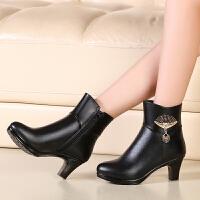 女士棉皮鞋高跟妈妈鞋短靴女冬季加绒女鞋女士棉鞋中年皮鞋棉靴粗跟高跟女靴srr