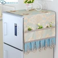 冰箱盖巾家居布艺收纳袋盖巾田园防尘罩盖布冰箱电脑双开门韩式欧式灰色电视机挂袋