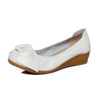 新品女鞋冬秋女单鞋真皮妈妈鞋舒适坡跟牛筋软底蝴蝶结工作鞋