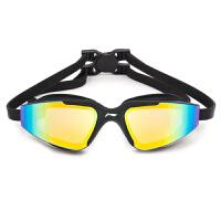 游泳镜男女泳装备休闲镀膜高清游泳眼镜平光大框泳镜