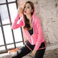 宽松跑步服拉链连帽外套女 健身房运动显瘦户外跑步上衣款瑜伽服运动女外套