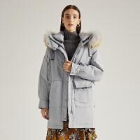 【3折参考价:840】商场同款迪赛尼斯2020年冬季新款加厚白鸭绒中长款派克羽绒服女士