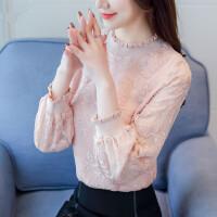 雪纺衫秋装女装2018新款女款秋季长袖上衣服韩版打底蕾丝衫百搭潮