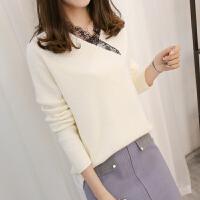 秋冬新款韩版短款蕾丝V领长袖纯色针织套头毛衣女装上衣针织衫潮
