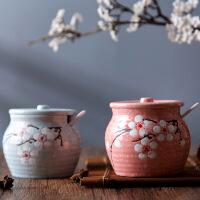 雪花釉下彩陶瓷调料罐厨房盐罐调味罐家创意用调料盒调味盒调料瓶
