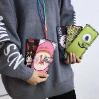 韩国韩版复古可爱卡通涂鸦长款钱包女日系原宿创意学生皮夹