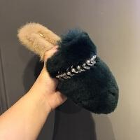 珍珠水钻毛毛拖鞋女秋冬季2017新款韩版时尚外穿兔毛包头一字拖夏