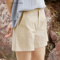 [AMII东方极简] JII[东方极简]2018夏季新款女装款纯色宽松热裤棉麻直筒大码休闲短裤